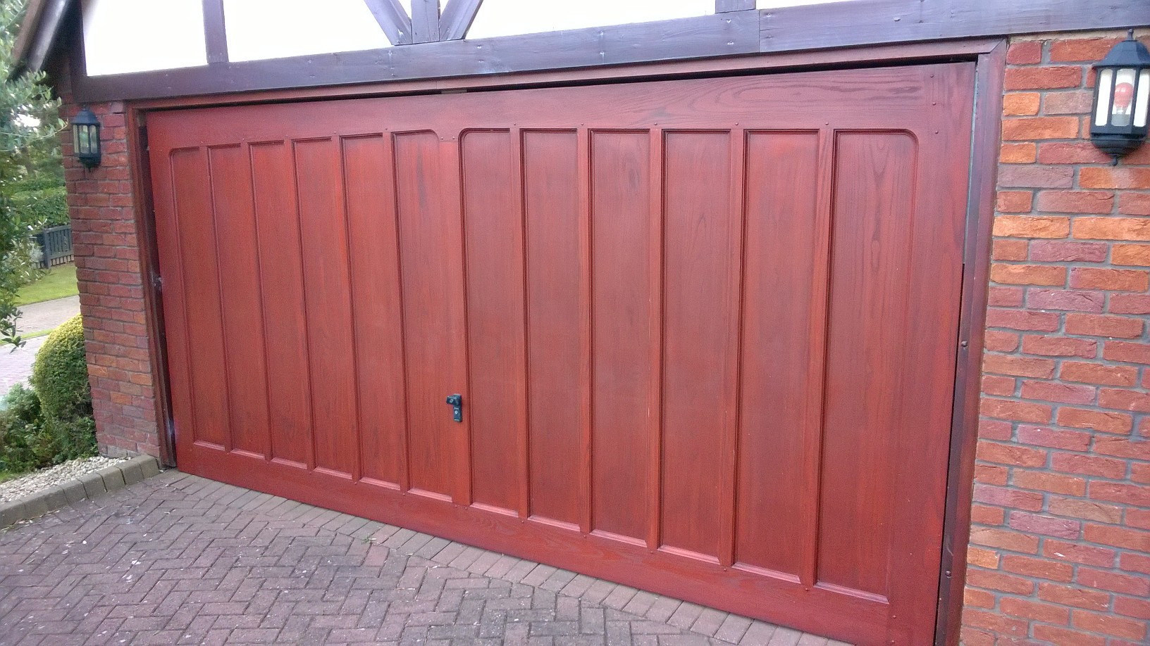 wessex garage door red mahogany 14ft wide 7ft high for